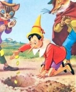 Pinocchio nel campo dei miracoli con il gatto e la volpe