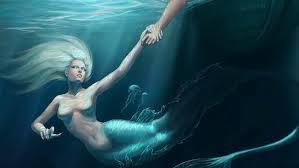 Una rusalka trascina la sua vittima in acqua