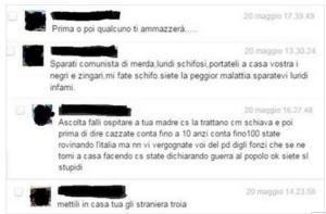 Alcuni insulti comparsi sulla pagina FB della Moretti